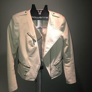 White Snakeskin GUESS Faux Leather Jacket